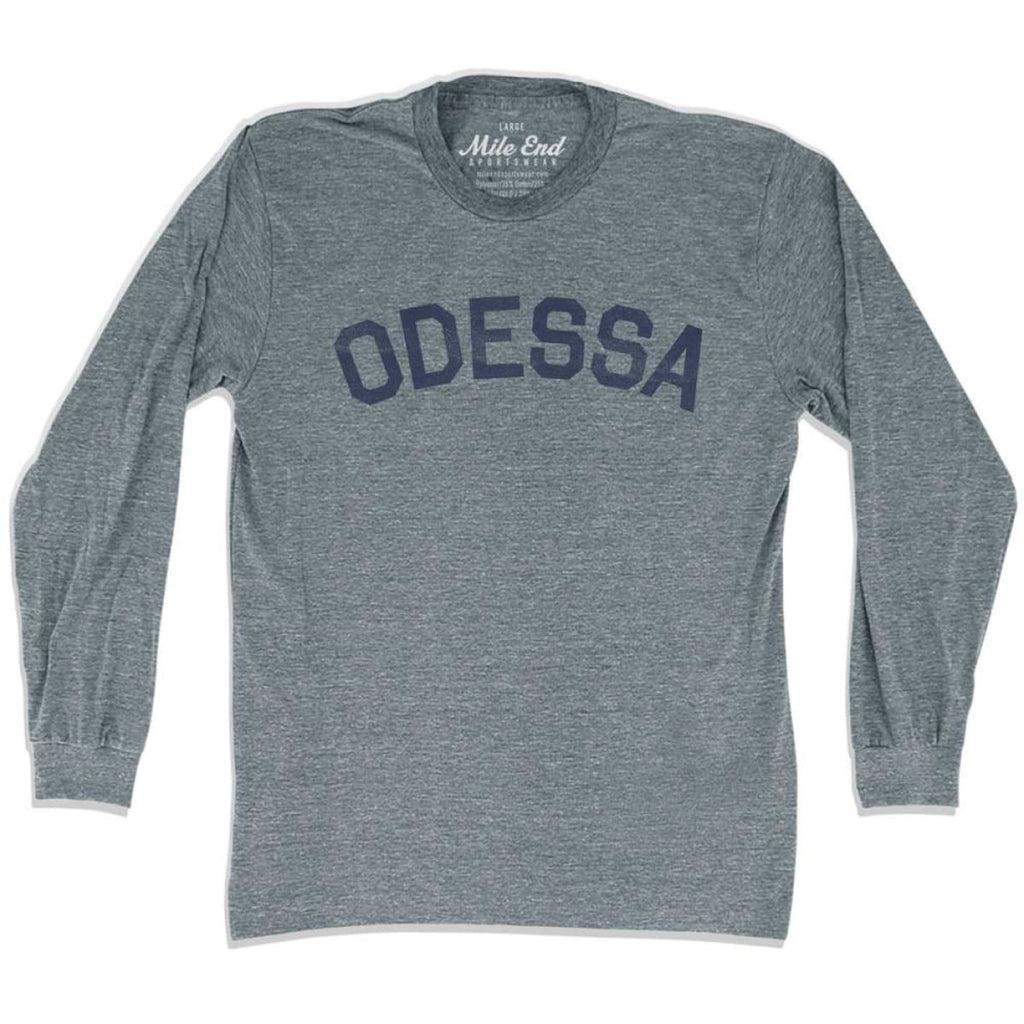 Odessa City Vintage Long-Sleeve T-shirt - Athletic Grey / Adult Small - Mile End City
