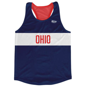 Ohio Finish Line Running Tank Top Racerback Track and Cross Country Singlet Jersey - Blue White Red / Adult X-Small - Running Top