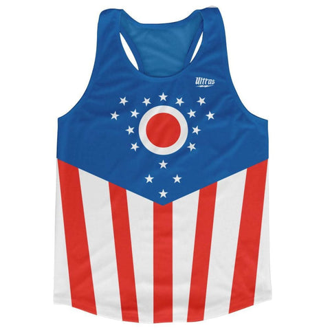 Ohio State Flag Running Tank Top Racerback Track and Cross Country Singlet Jersey - Blue White & Red / Adult X-Small - Running Top