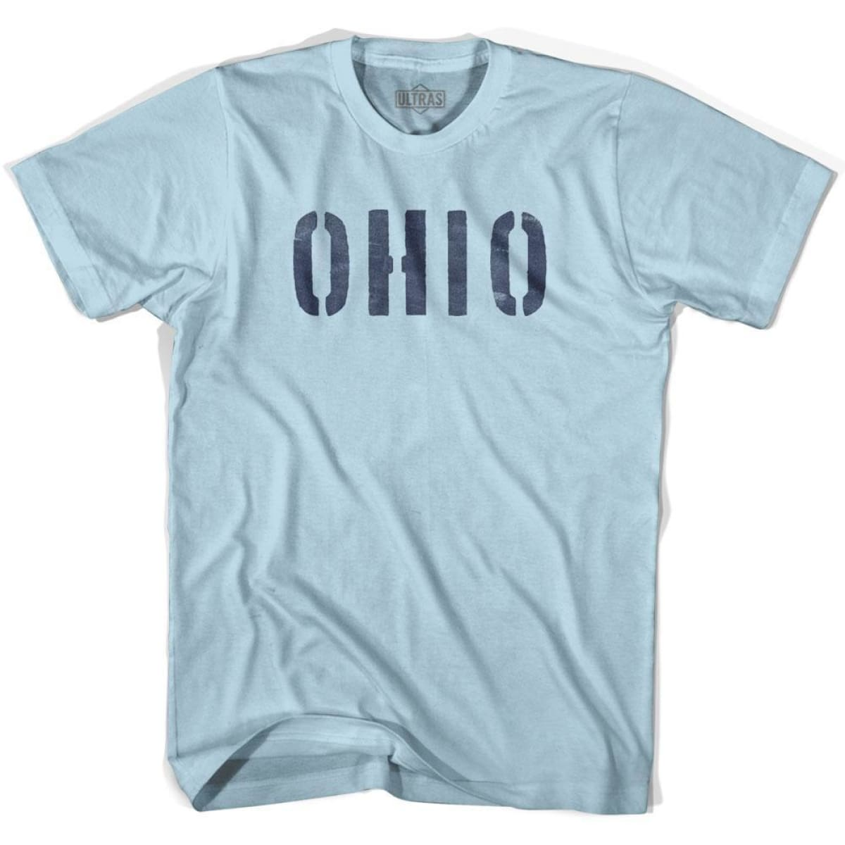 Ohio State Stencil Adult Cotton T-shirt - Light Blue / Adult Small - Stencil State