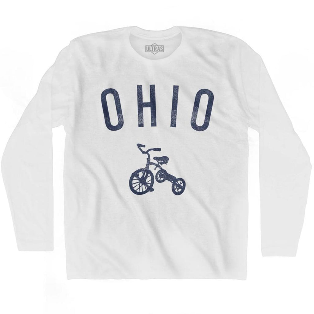 Ohio State Tricycle Adult Cotton Long Sleeve T-shirt - White / Adult Small - Tricycle State
