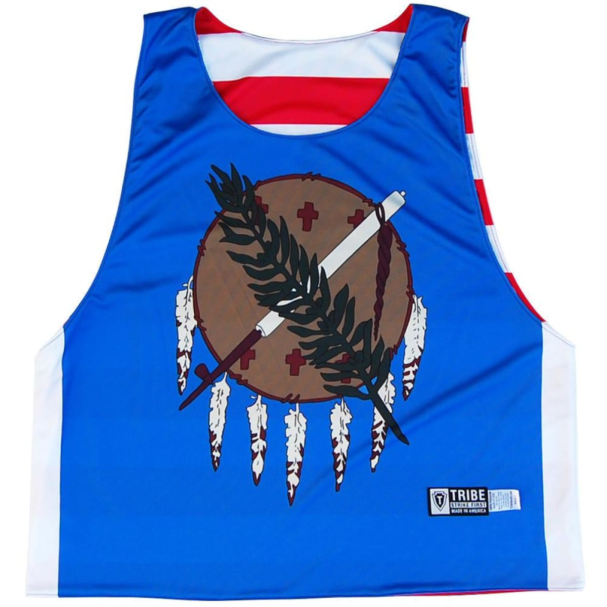 Oklahoma & American Flag Lacrosse Pinnie - Blue / Youth X-Small / No - Graphic Lacrosse Pinnies