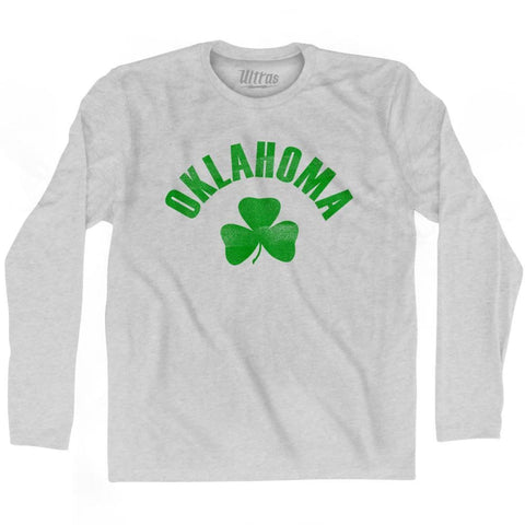 Oklahoma State Shamrock Cotton Long Sleeve T-shirt - Grey Heather / Adult Small - Shamrock Collection