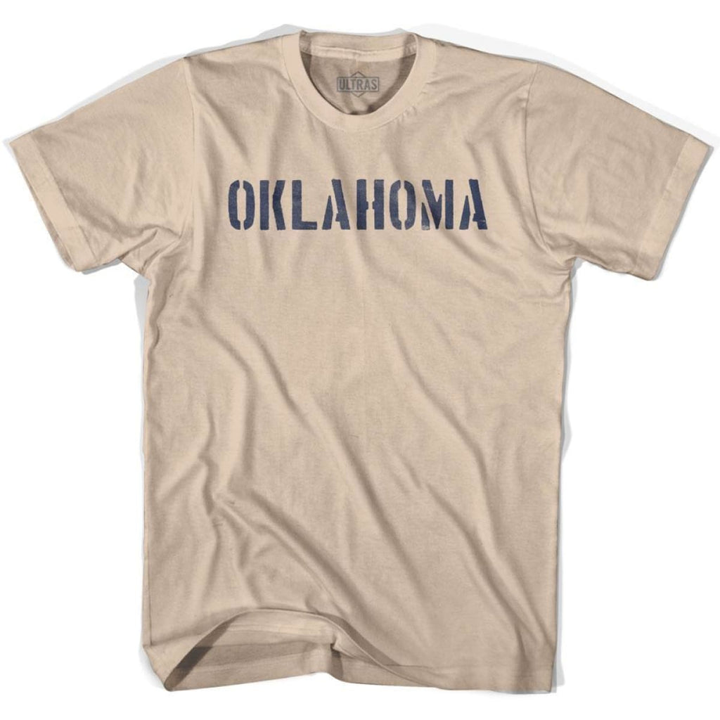 Oklahoma State Stencil Adult Cotton T-shirt - Creme / Adult Small - Stencil State
