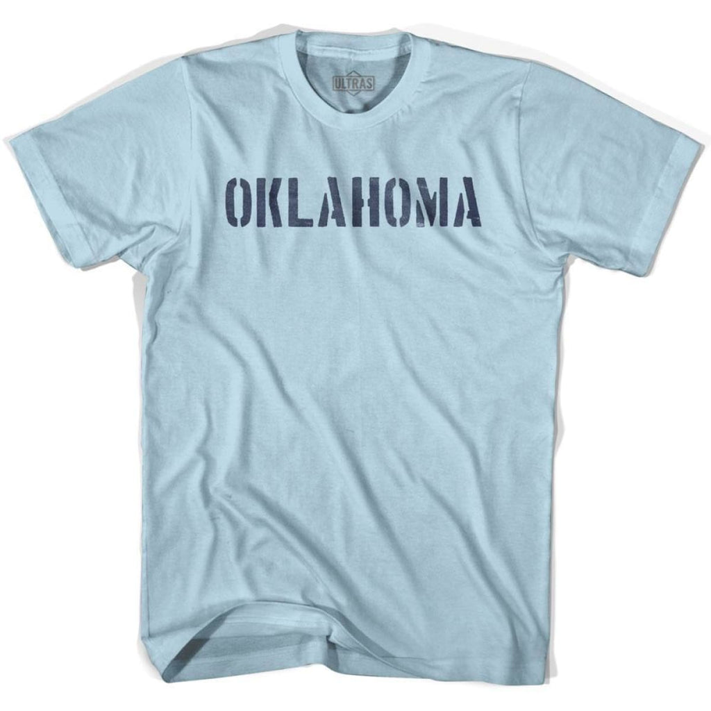 Oklahoma State Stencil Adult Cotton T-shirt - Light Blue / Adult Small - Stencil State