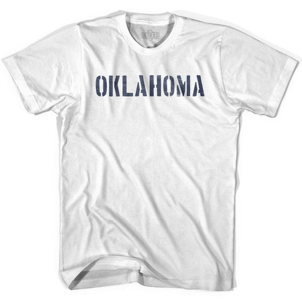 Oklahoma State Stencil Adult Cotton T-shirt - White / Adult Small - Stencil State