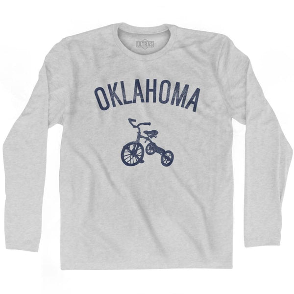 Oklahoma State Tricycle Adult Cotton Long Sleeve T-shirt - Grey Heather / Adult Small - Tricycle State