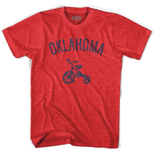 Oklahoma State Tricycle Adult Tri-Blend T-shirt - Heather Red / Adult Small - Tricycle State