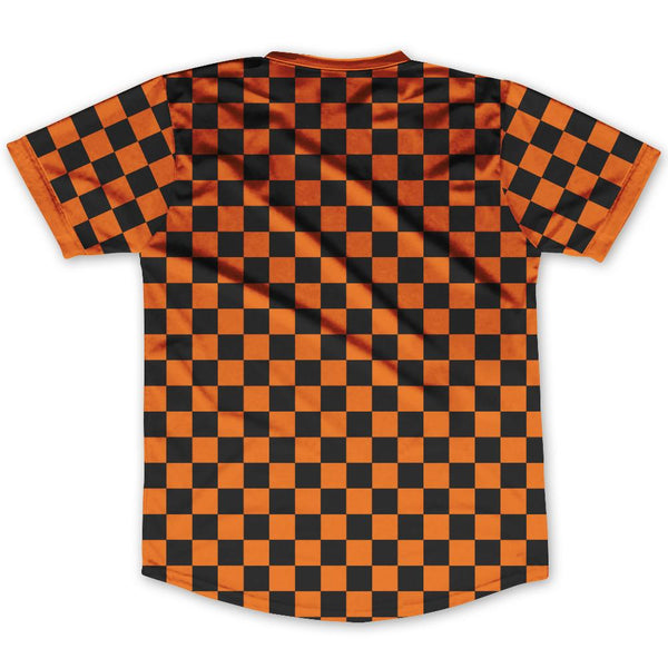 Orange Black Custom Checkerboard Soccer Jersey By Ultras