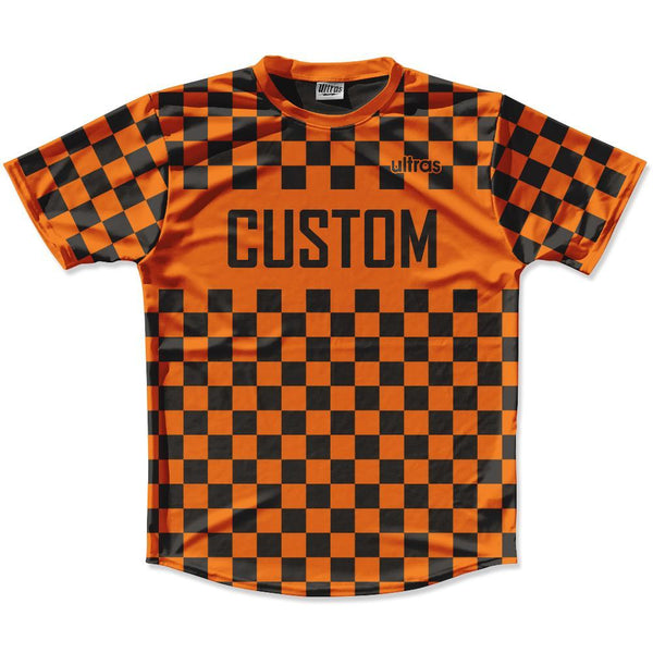 Orange Black Custom Checkerboard Soccer Jersey