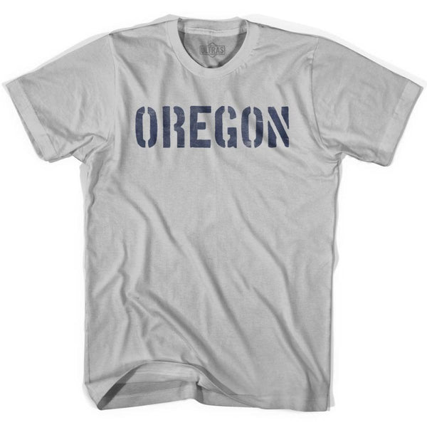 Oregon State Stencil Adult Cotton T-shirt - Cool Grey / Adult Small - Stencil State