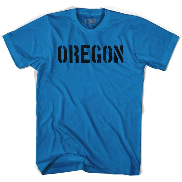 Oregon State Stencil Adult Cotton T-shirt - Royal / Adult Small - Stencil State