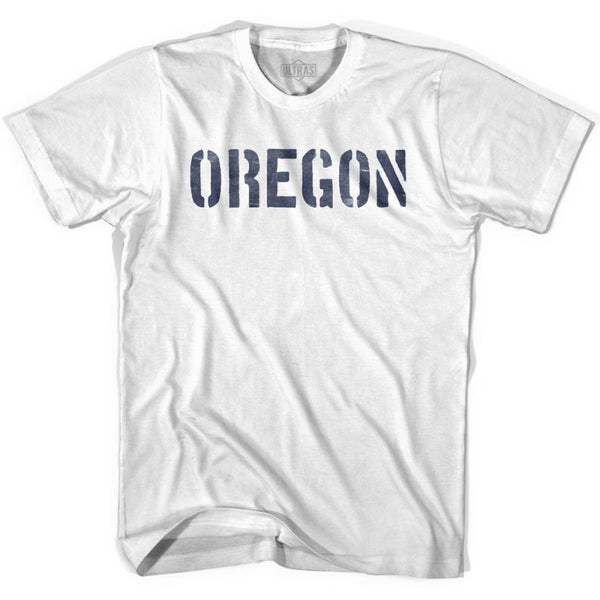 Oregon State Stencil Adult Cotton T-shirt - White / Adult Small - Stencil State