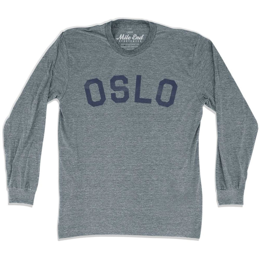 Oslo City Vintage Long Sleeve T-shirt - Athletic Grey / Adult X-Small - Mile End City