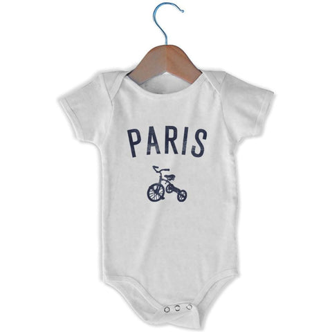 Paris City Tricycle Infant Onesie - White / 6 - 9 Months - Mile End City