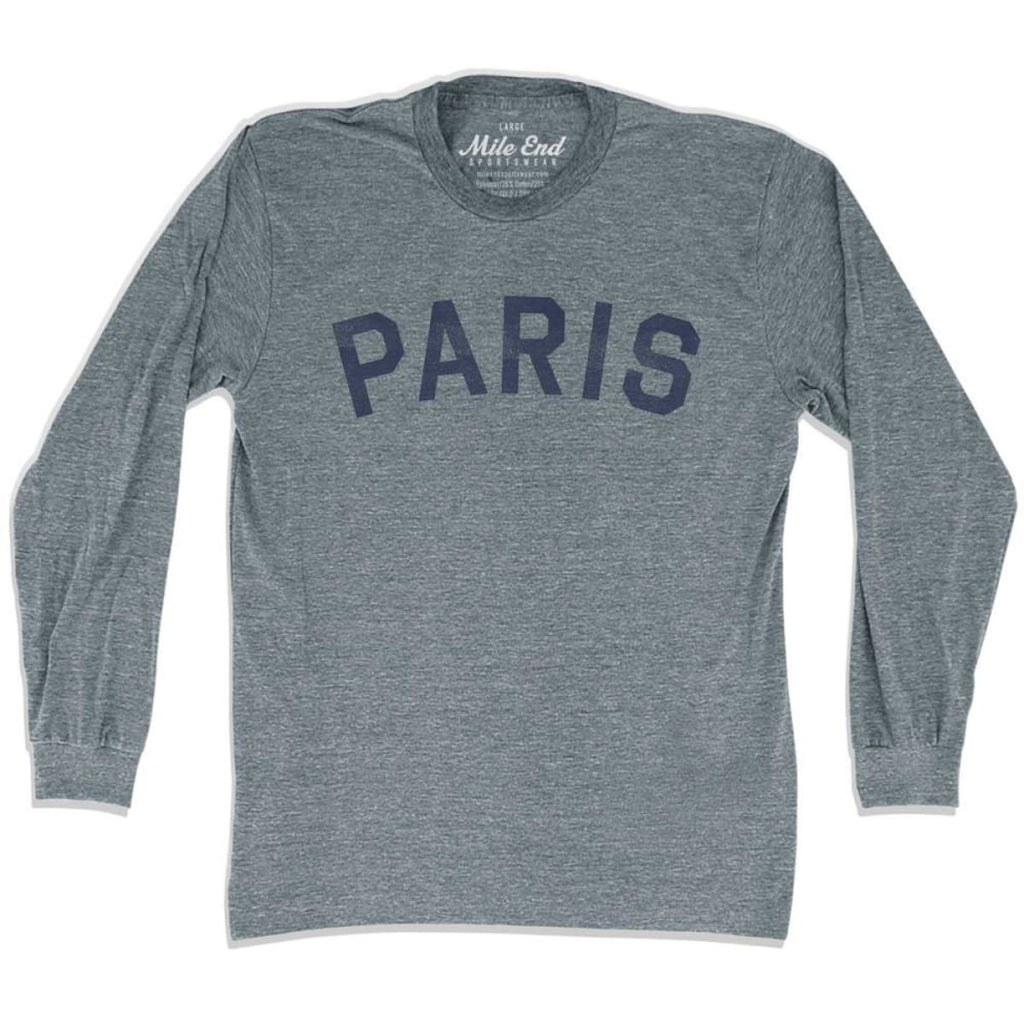 Paris City Vintage Long Sleeve T-Shirt - Athletic Grey / Adult X-Small - Mile End City