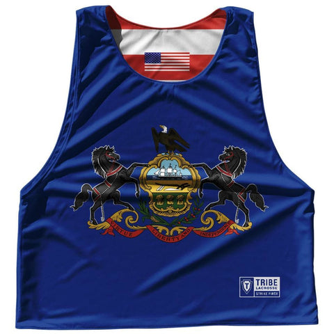 Pennsylvania State Flag and American Flag Reversible Lacrosse Pinnie - Royal Blue / Adult Small / No - Lacrosse Pinnies