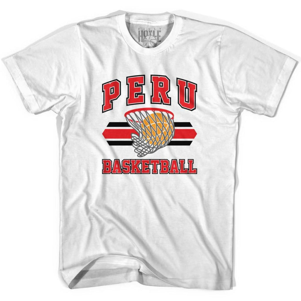 Peru 90s Basketball T-shirts - White / Youth X-Small - Basketball T-shirt