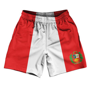 "Peru Country Flag Athletic Running Fitness Exercise Shorts 7"" Inseam Made In USA By Ultras Sportswear"