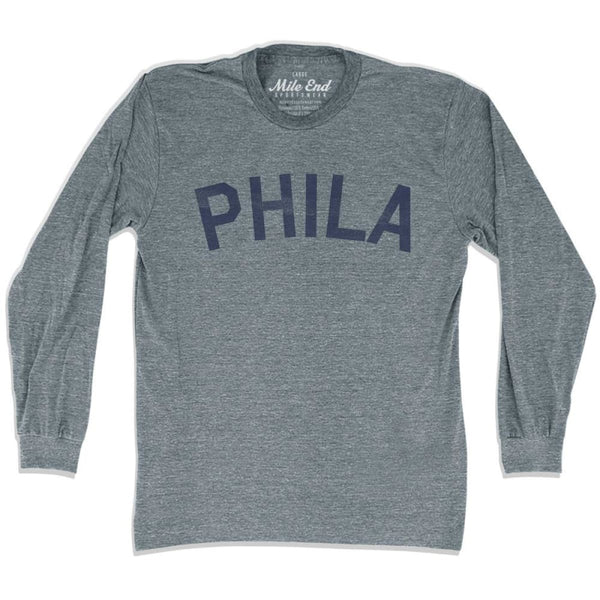 Phila City Vintage Long Sleeve T-Shirt - Athletic Grey / Adult X-Small - Mile End City