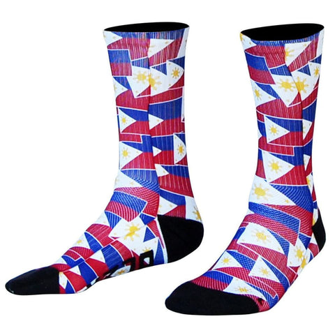 Philippines Flag Party Athletic Crew Socks - Red and Blue / X-Large - Socks