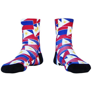 Philippines Flag Party Athletic Half Crew Socks - Red and Blue / Medium - Socks