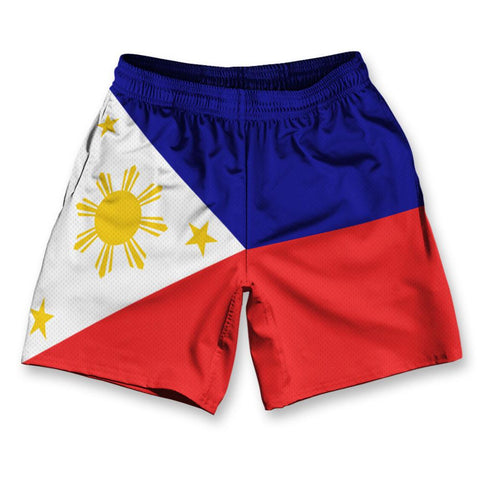"Philippines Flag Athletic Running Fitness Exercise Shorts 7"" Inseam by Ultras Sportswear"