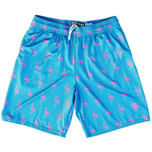 Pink Flamingo Lacrosse Shorts - Aqua Blue / Youth X-Small - Tribe Lacrosse Shorts