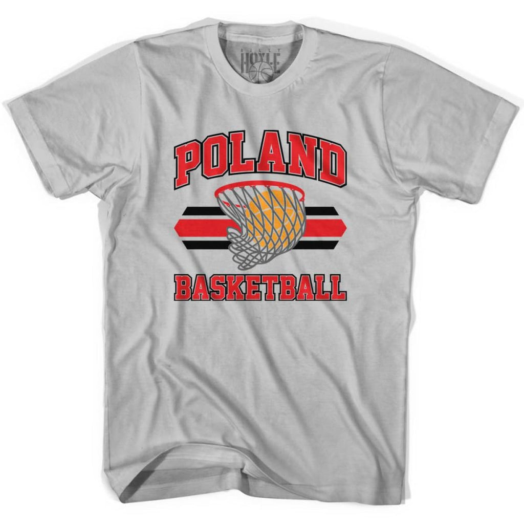 Poland 90s Basketball T-shirts - Silver / Youth X-Small - Basketball T-shirt