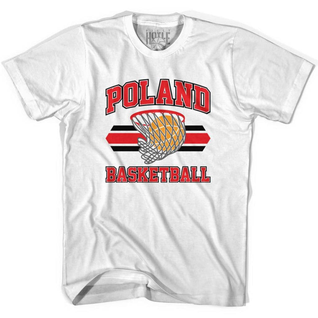 Poland 90s Basketball T-shirts - White / Youth X-Small - Basketball T-shirt