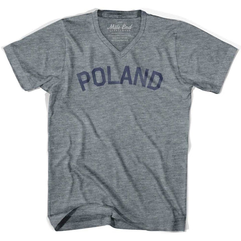 Poland City Vintage V-neck T-shirt - Athletic Grey / Adult X-Small - Mile End City