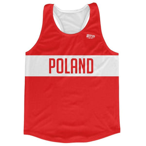 Poland Country Finish Line Running Tank Top Racerback Track and Cross Country Singlet Jersey - Red White / Adult X-Small - Running Top
