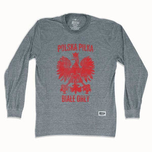 Poland Polska Pilka Soccer Long Sleeve T-shirt - Athletic Grey / Adult Small - Ultras Soccer Country T-shirts
