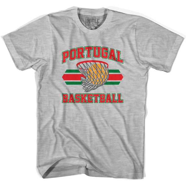 Portugal 90s Basketball T-shirts - Grey Heather / Youth X-Small - Basketball T-shirt