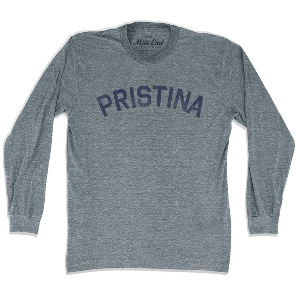 Pristina City Vintage Long Sleeve T-shirt - Athletic Grey / Adult X-Small - Mile End City
