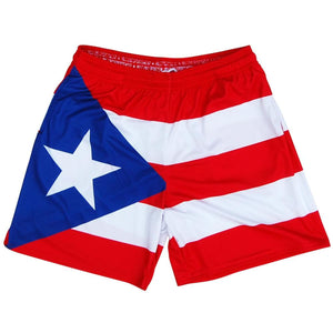 Puerto Rico Flag Athletic Shorts - Red Navy / Youth X-Small - Athletic Shorts