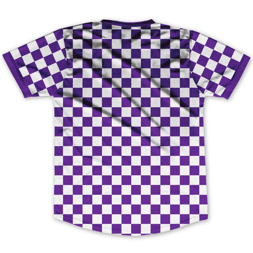 info for 0f591 e594d Purple & White Custom Checkerboard Soccer Jersey