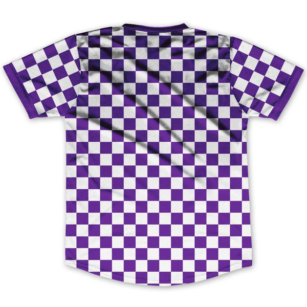 Purple & White Custom Checkerboard Soccer Jersey By Ultras