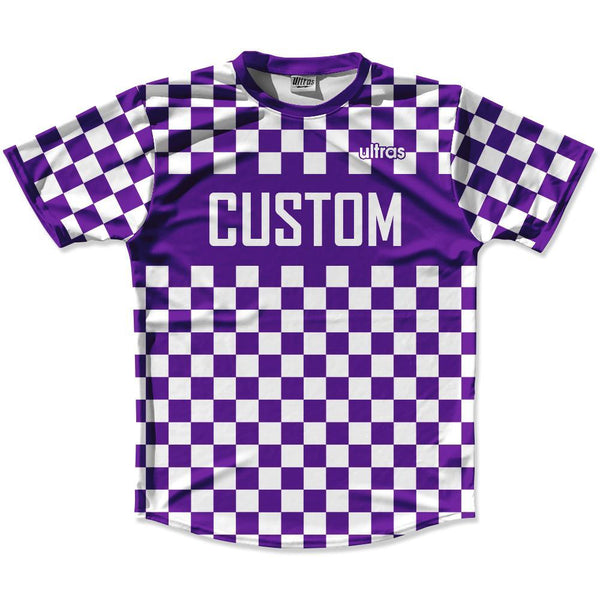 Purple & White Custom Checkerboard Soccer Jersey
