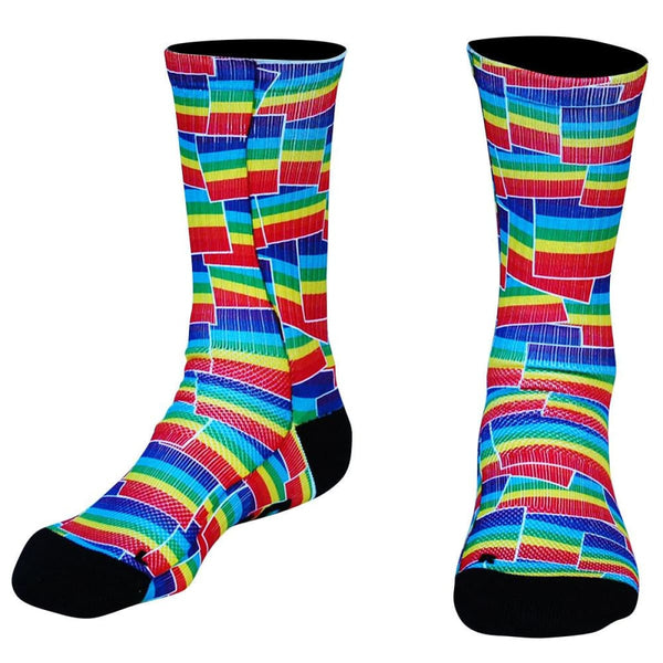 Rainbow Party Flags Premium Athletic Crew Socks - Socks