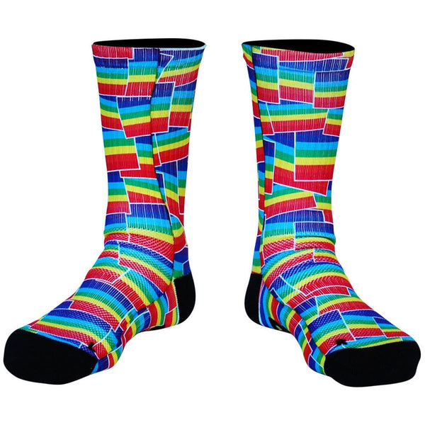 Rainbow Party Flags Premium Athletic Crew Socks - Red / Medium - Socks