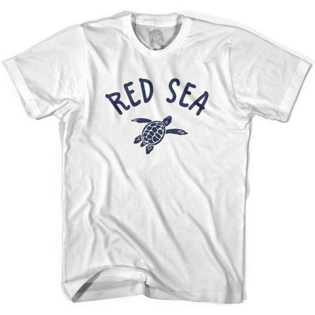 Red Sea Beach Sea Turtle Adult Cotton T-shirt - White / Adult Small - Turtle T-shirts