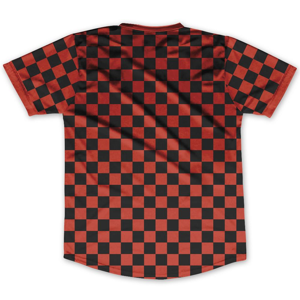 Cardinal Red & Black Custom Checkerboard Soccer Jersey By Ultras
