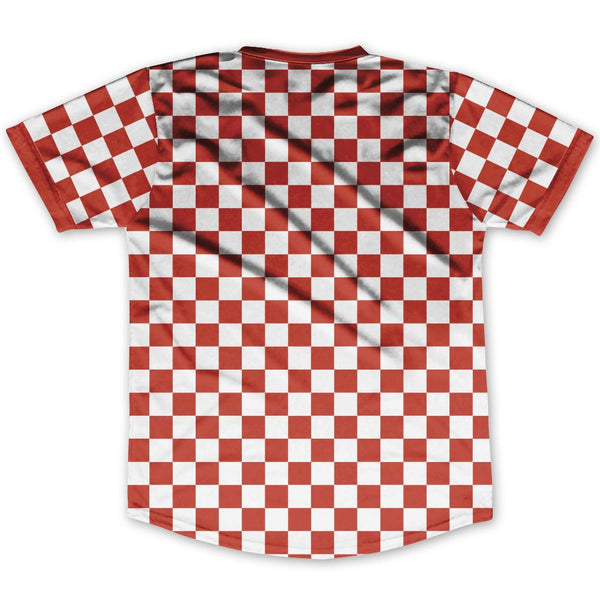 Cardinal Red & White Custom Checkerboard Soccer Jersey By Ultras