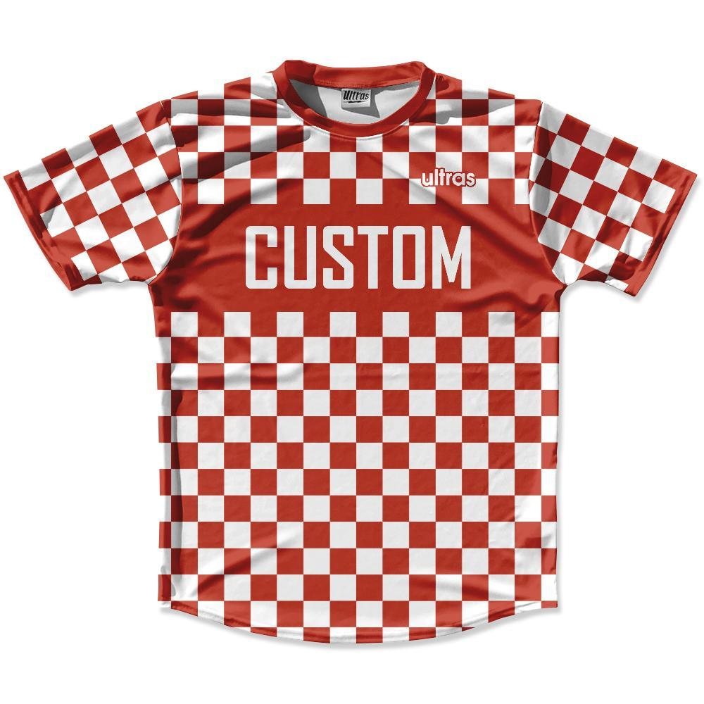 Cardinal Red & White Custom Checkerboard Soccer Jersey