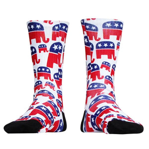 Republican Elephant Athletic Crew Socks - White / X-Large - Socks
