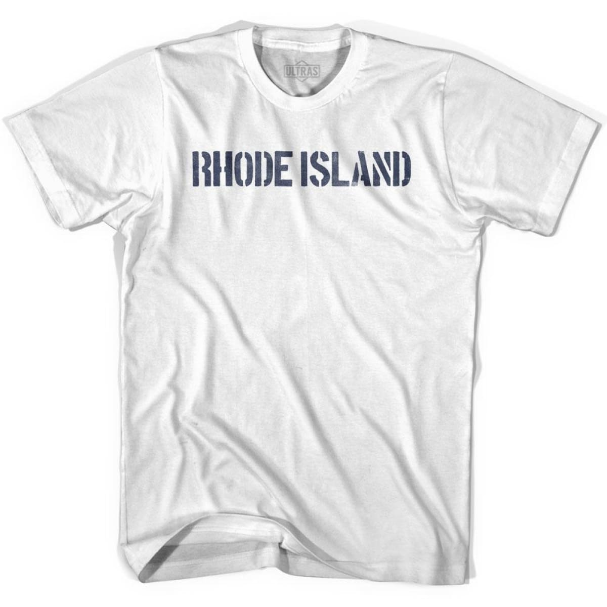 Rhode State Stencil Adult Cotton T-shirt - White / Adult Small - Stencil State
