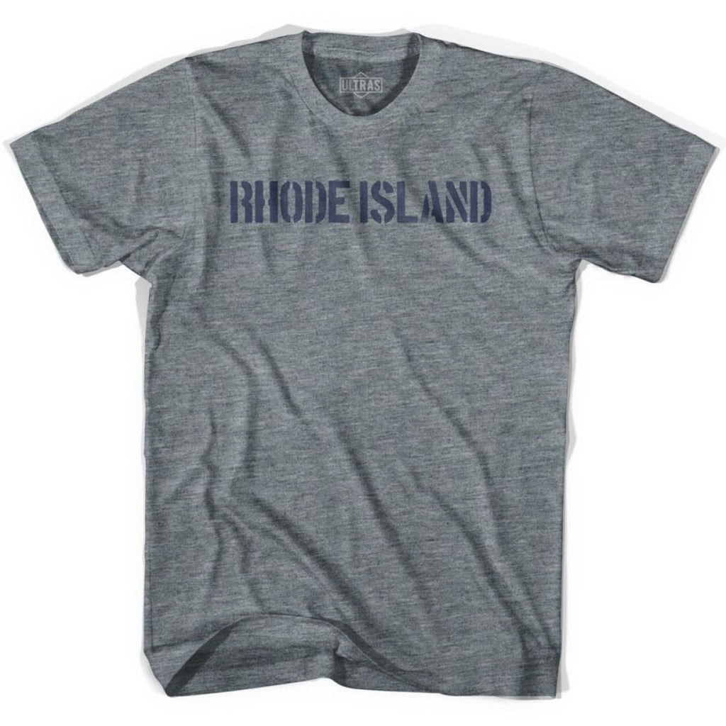 Rhode State Stencil Youth Tri-Blend T-shirt - Athletic Grey / Youth X-Small - Stencil State