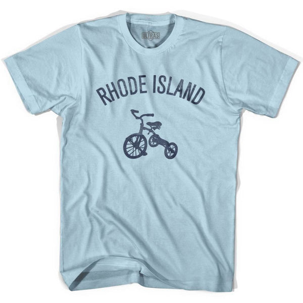 Rhode State Tricycle Adult Cotton T-shirt - Light Blue / Adult Small - Tricycle State