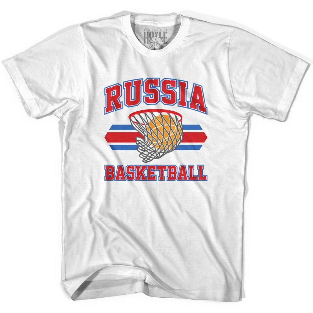 Russia 90s Basketball T-shirts - White / Youth X-Small - Basketball T-shirt